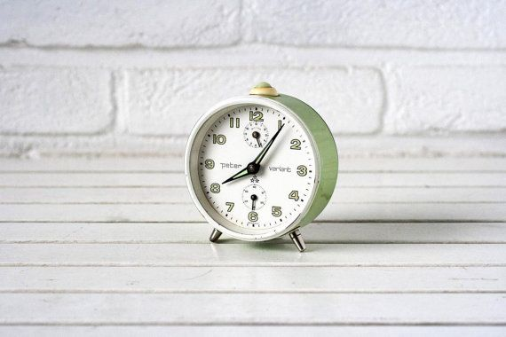 Vintage German Traditional Alarm Clock Green and White- Peter Variant