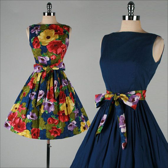 1950s dress: floral cotton reversible sun dress: by millstreetvintage on Etsy