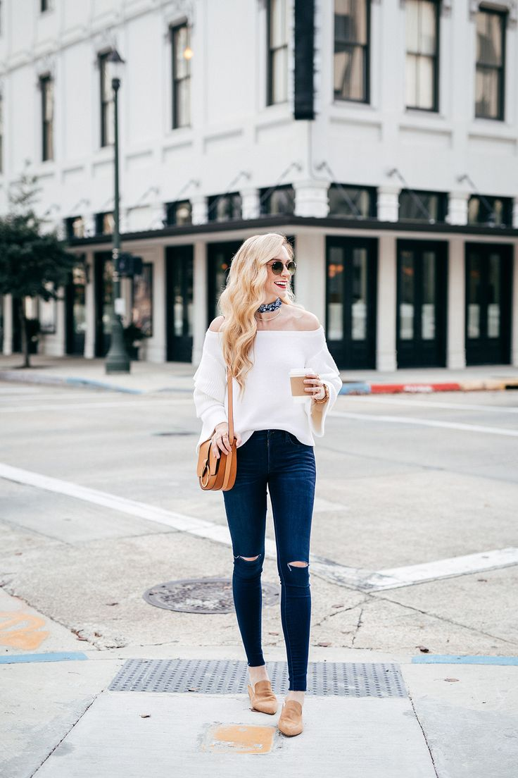 A Pinch of Lovely. White off the shoulder ruffled sleeves sweater+ripped jeans+camel backless loafers+cognac saddle crossbody bag+navy printed bandana choker+Ray-Ban round frame sunglasses. Spring Casual Outfit 2017