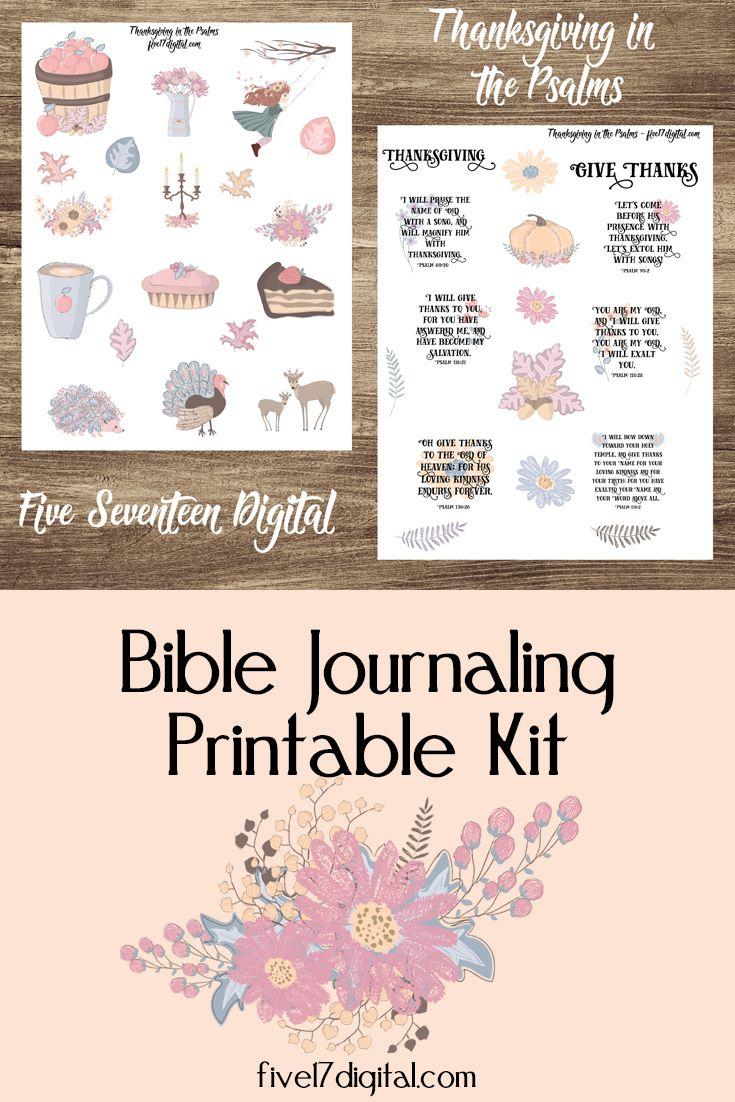 Bible Journal Printable, Journaling Kit, Thanksgiving