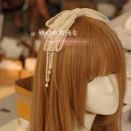 Pizzi fatti a mano fai da te fiocco oversize fascia copricapo accessori per capelli tornante Lolita Lolita Campana Dipartimento Witch Mori - Taobao