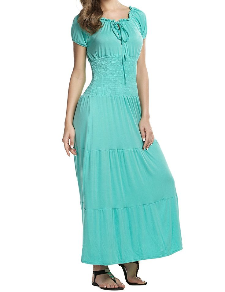 Meaneor Women Festival Cap Sleeve Scoop Neck Smock Waist Long Maxi Summer Dress * Don't get left behind, see this great  product : Women's dresses