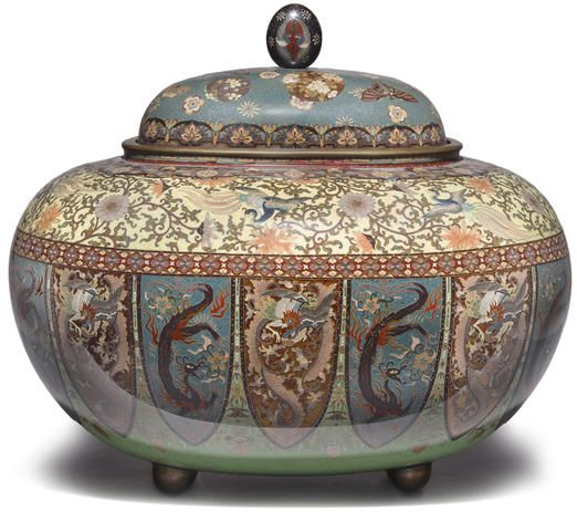 A cloisonné enamel incense burner (koro) and cover Attributed to Honda Yosaburo of Kyoto, Meiji period (late 19th century)