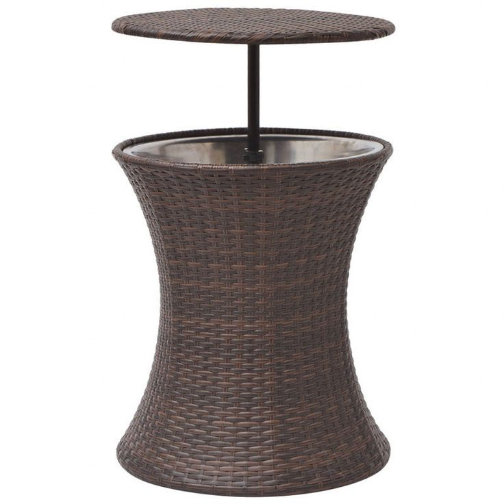 Outdoor PE Rattan Ice Bucket Coffee Table in Brown   Buy Outdoor Coffee Tables