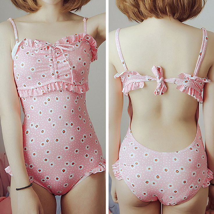 """use code: """"puririnhime"""" to get 10% OFF everytime you shop at www.sanrense.com Pinky kawaii swimming suit"""