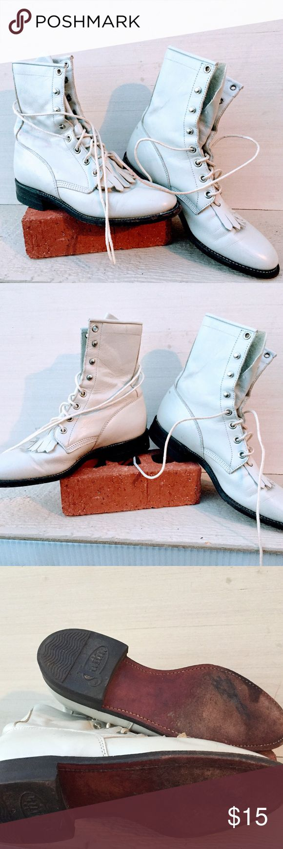 Justin White Roper. size 5 Justin White Roper. Size 5 heel B,8-inch tall Women's Justin roper boot with a roper toe, a roper heel Justin Boots Shoes Lace Up Boots