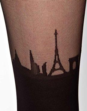 ASOS - Paris Skyline - Collant effetto reggicalze