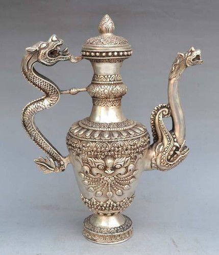 carving tibetaanse antieke chinese tibet zilveren draak wijn pot theepot bruiloft decoratie
