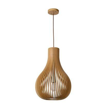 Opgelet! De houten lamp is niet meer weg te denken uit een modern interieur. De combinatie van strakke lijnen en het natuurlijke materiaal maken dat deze Lucide Bodo lamp in meerdere stijlen past. De houten banen zorgen voor een prachtige lichtval.