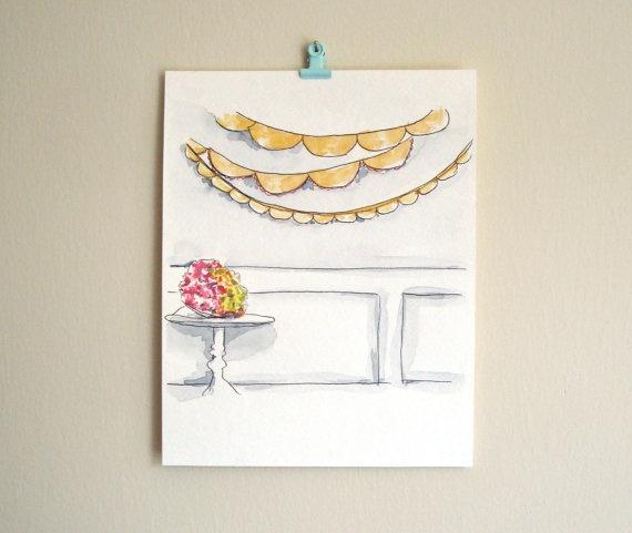 Flower still life art painting bunting banner art wedding art - party scene. $45.00, via Etsy.