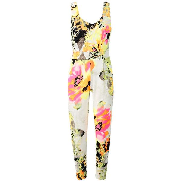 Neon Floral Print Jumpsuit (2,495 PHP) ❤ liked on Polyvore featuring jumpsuits, romper, playsuit, assorted, white floral romper, summer jumpsuits, party jumpsuits, playsuit romper и floral jumpsuit