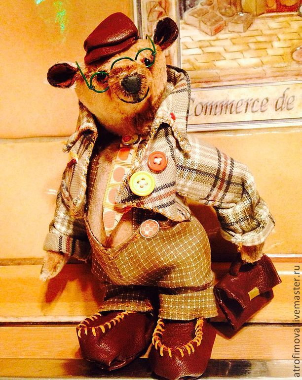 Купить Мишка Экономист - бежевый, подарок мужчине, подарок девушке, мишка тедди, мишка в одежде