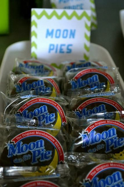 Moon pies at an Outer Space Birthday Party!  See more party ideas at CatchMyParty.com!