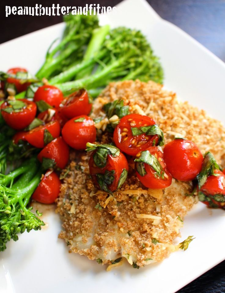 Panko Parmesan Crusted Cod with Broccolini and Bruschetta - a perfect ...