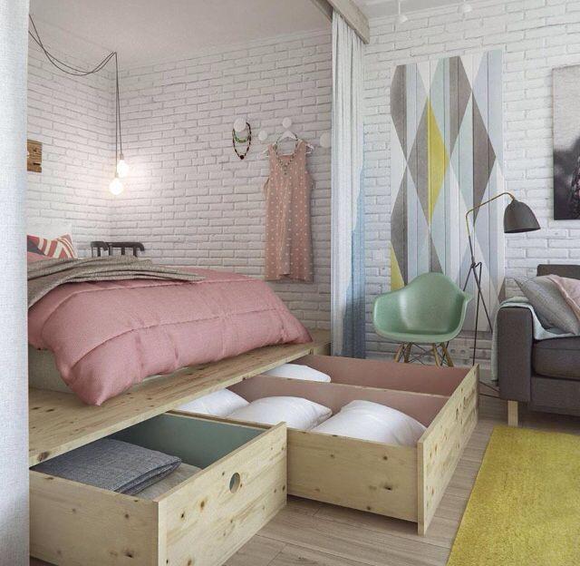 Idea per risparmiare spazio - letto rialzato
