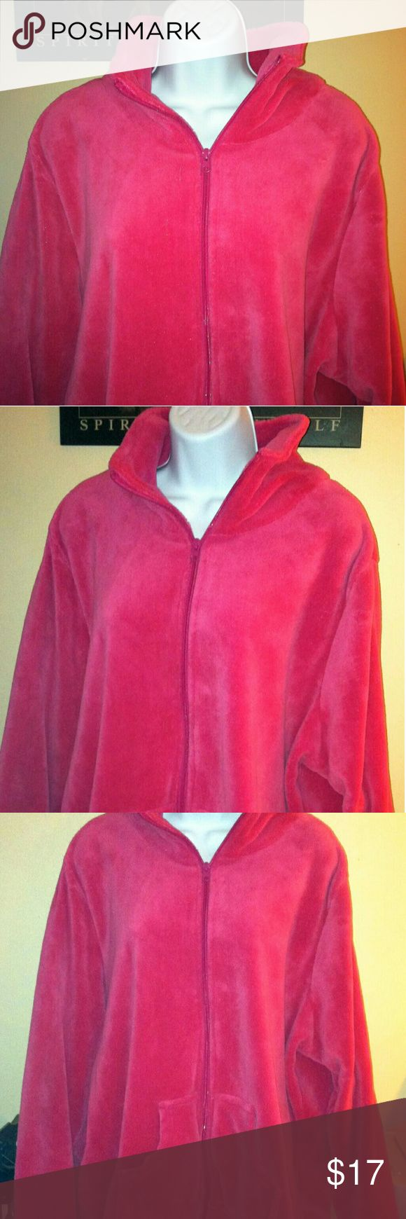 Women's 4X dark pink fleece jacket This womens plus size fleece jacket is in excellent pre owned condition. A very dark pink and not a hot pink. Plus size 4X. Brand is PinkK. This has no damages, it is clean and stain. No fading to this as it was rarely ever worn. Has it's two front pockets and full front zip up. Medium thickness and very good for an extra layer. Overall excellent condition. PinkK Tops Sweatshirts & Hoodies