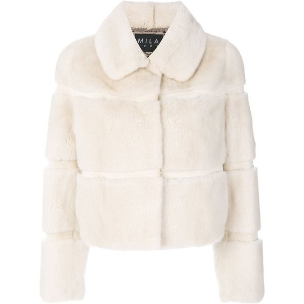 Cara Mila Laura Pearl Mink Jacket (8 280 BGN) ❤ liked on Polyvore featuring outerwear, jackets, white, white jacket, mink fur jacket, mink jacket, cropped jacket and white cropped jacket