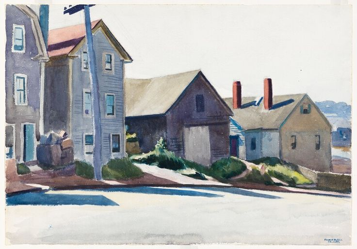 "(Gloucester Houses), Edward Hopper, 1923-24, watercolor and graphite pencil on paper, 13 7/8 × 19 15/16"", Whitney Museum of American Art."