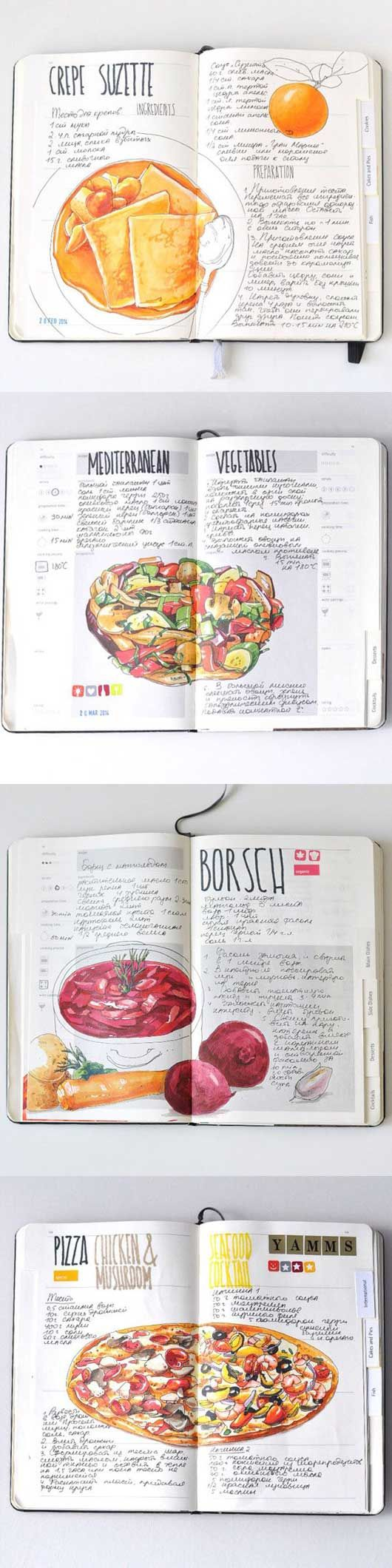 cibo illustrazione diario Anna Rastorgueva