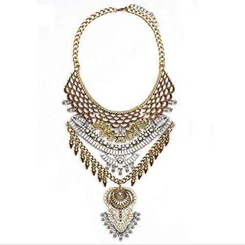 Donne Vintage strass partito gioielli Rivet catena clavic…