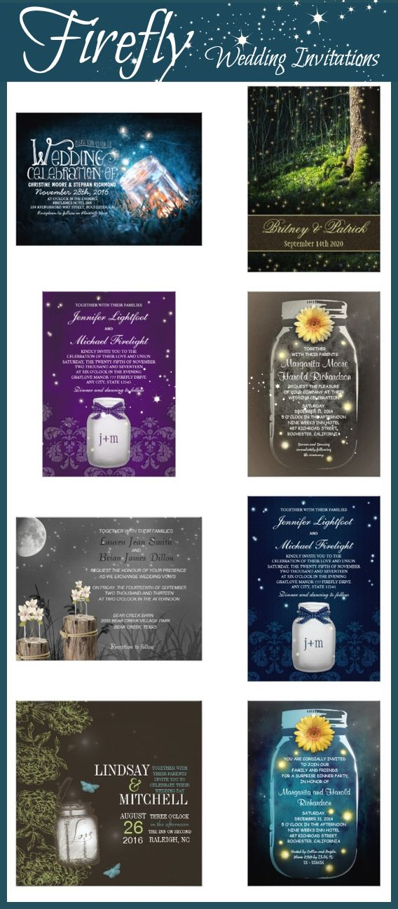Firefly Wedding Invitations for a summer wedding.  Unique firefly and lightning bug designs. Personalize these firefly wedding invites with your own wedding invitation wording.  Easy to edit templates.  Add text to both sides of the wedding announcements.  #FireflyWeddingIdeas