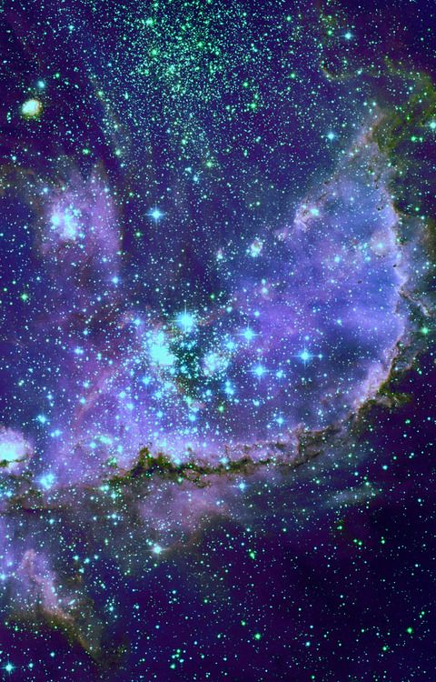 NGC 346 (in the Small Magellanic Cloud).  An open cluster and emission nebula inTucana.Apparent size 14 by 11 arcmin. The largest emission nebula in the Small Magellanic Cloud.