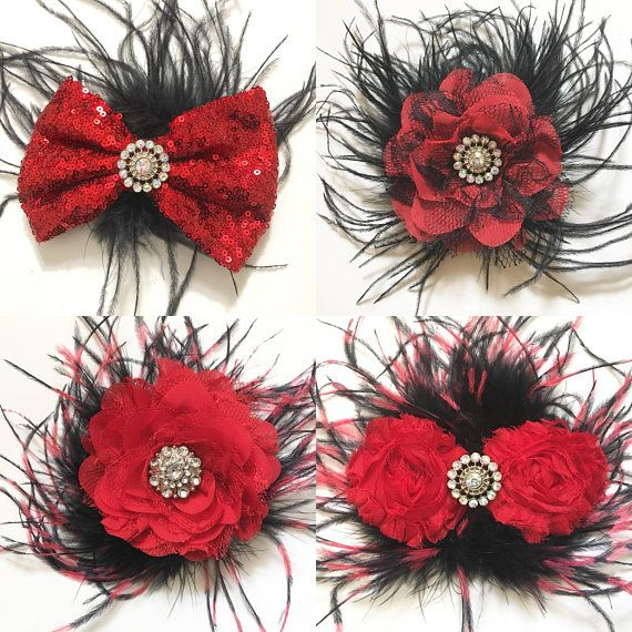 Red Black Flower Feather Hair Clip, Red Black
