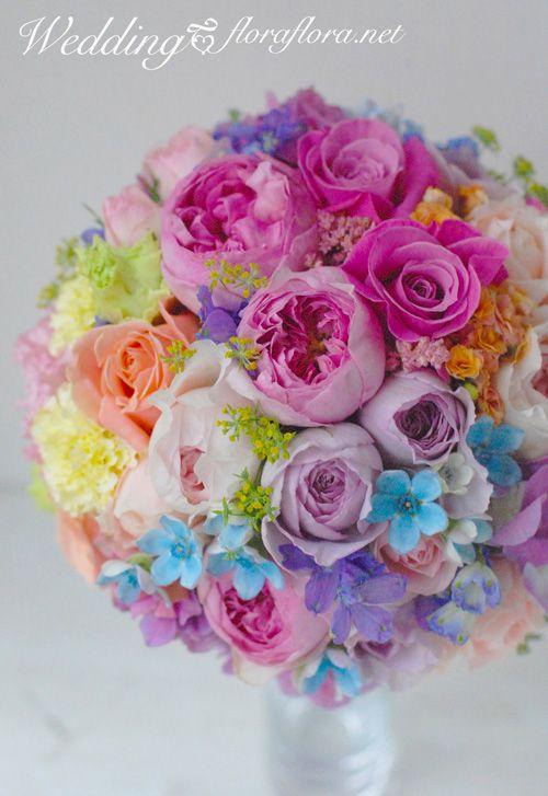 虹色ラウンドブーケ Rainbow wedding bouquet * Tokyo 東京 FLORAFLORA*precious flowers*ウェディングブーケ会場装花&フラワースクール*