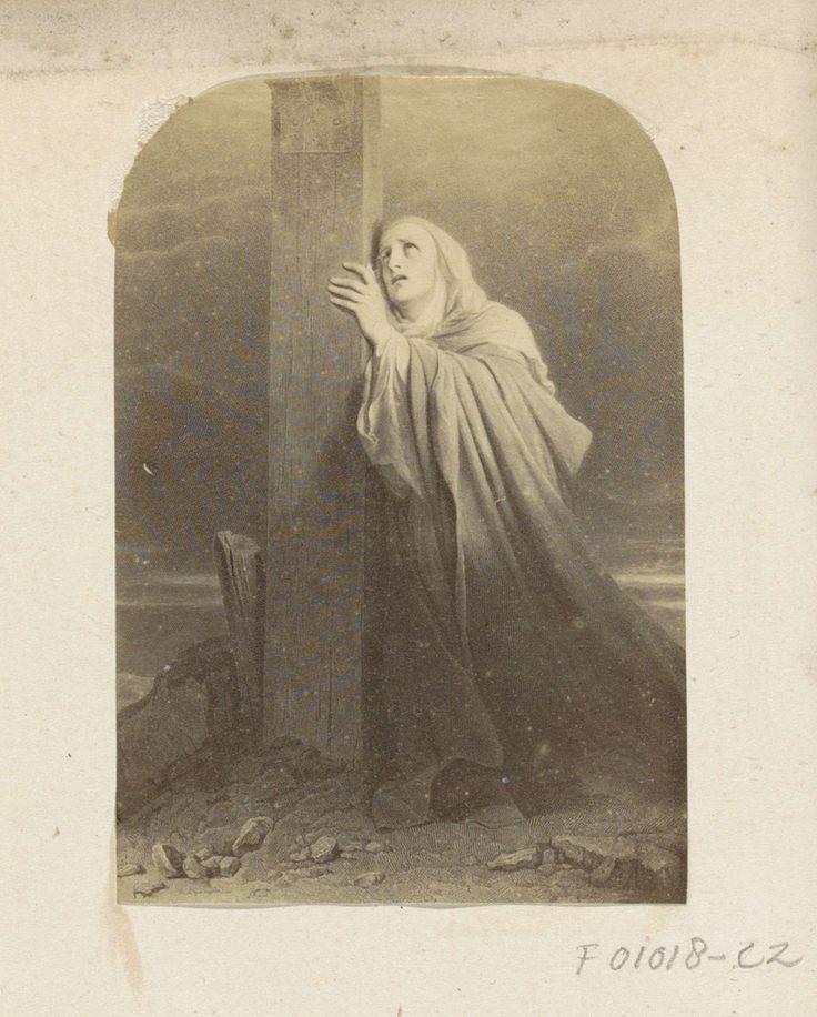 Anonymous | Fotoreproductie van (vermoedelijk) een prent met een wenende vrouw onder het kruis, Anonymous, c. 1860 - c. 1870 | Onderdeel van Engels familiealbum met foto's van personen, reizen, cricket en kunstwerken.