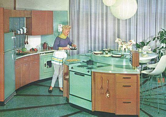 Mid-Century Modern •~• vintage MCM turquoise kitchen