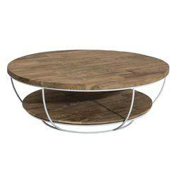 Table basse coque fil métal blanc et double plateaux en Teck recyclé D100xH35cm SWING PIER IMPORT - Table basse