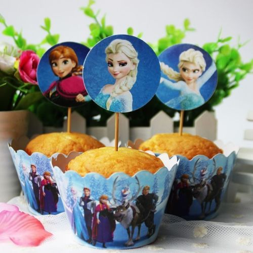 1-6-or-12-Frozen-Elsa-Anna-Olaf-Cupcake-Topper-Wrapper-Set-Decoration