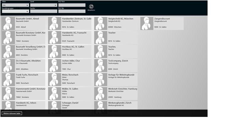 Adressübersicht in der Win8-App der Business Software myfactory in Version 5.0