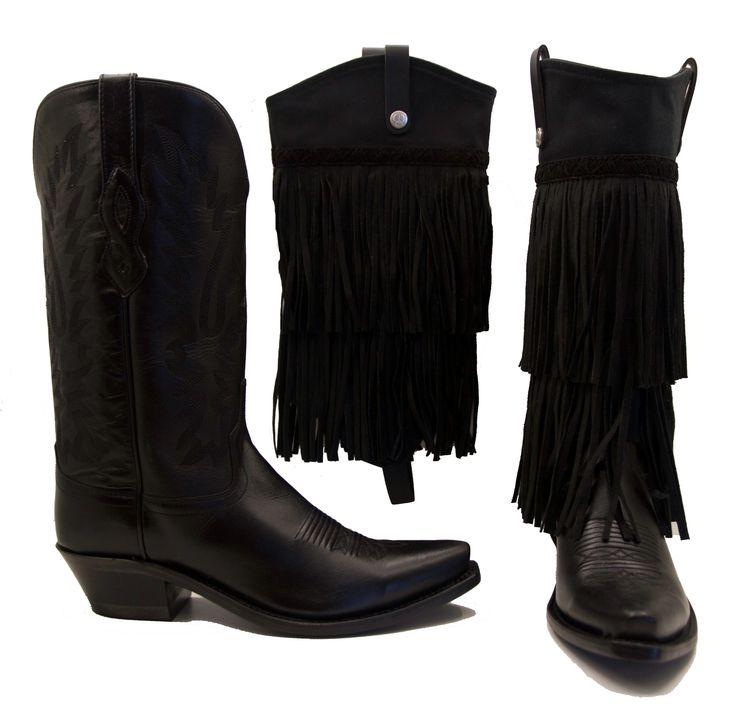 Old West Boots With Black Braided Fringe