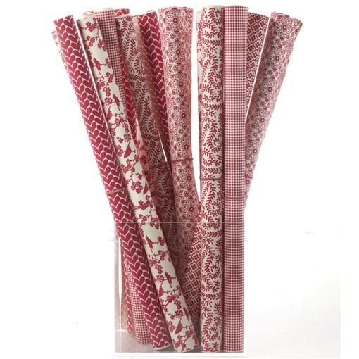 Handtryckta papper Bungalow 6 olika röd/vita