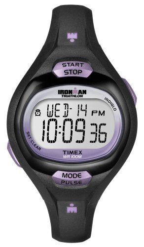 Now in stock Timex Women's T5K187 Ironman Essential Pulse Black/Purple Resin Strap Watch