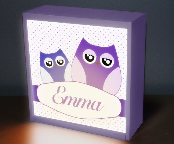 Owl Girl  8 x 8 night light night lights baby by DreamGlowLightbox, $49.00