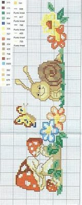 Una Locura de ideas !!!  de punto de cruz: Cenefa de caracol, mariposita y setas,  gráfico en...