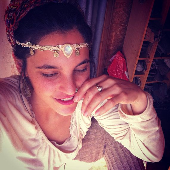 Moonstone headband moonstone jewelry wedding white by ArtOfGoddess