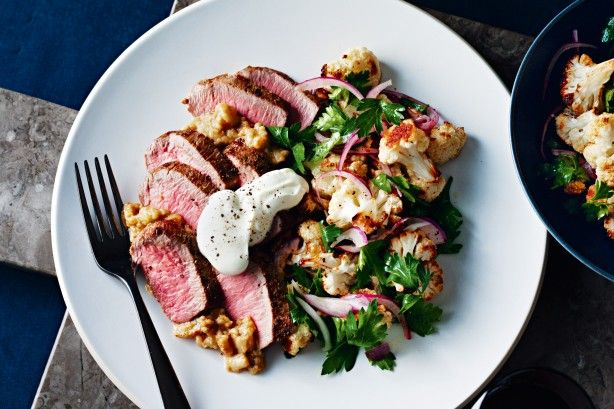 Treat yourself to a taste of the Middle East with this spiced lamb served on a bed of creamy eggplant. Roast cauliflower brings out a subtle nutty flavour that's perfect with cumin-spiced lamb.