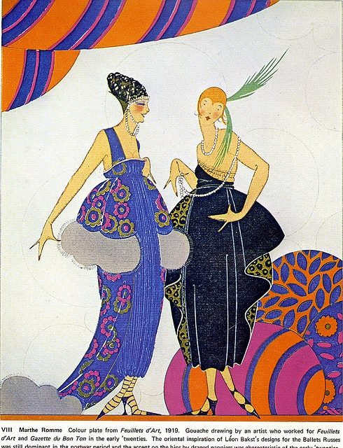 Vintage Flappers illustration by Romme, 1919