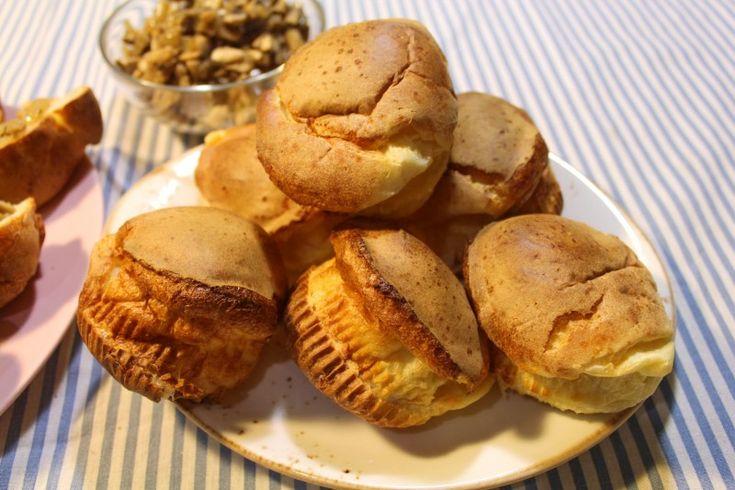 Поповеры с грибной начинкой. Простые булочки из блинного теста.