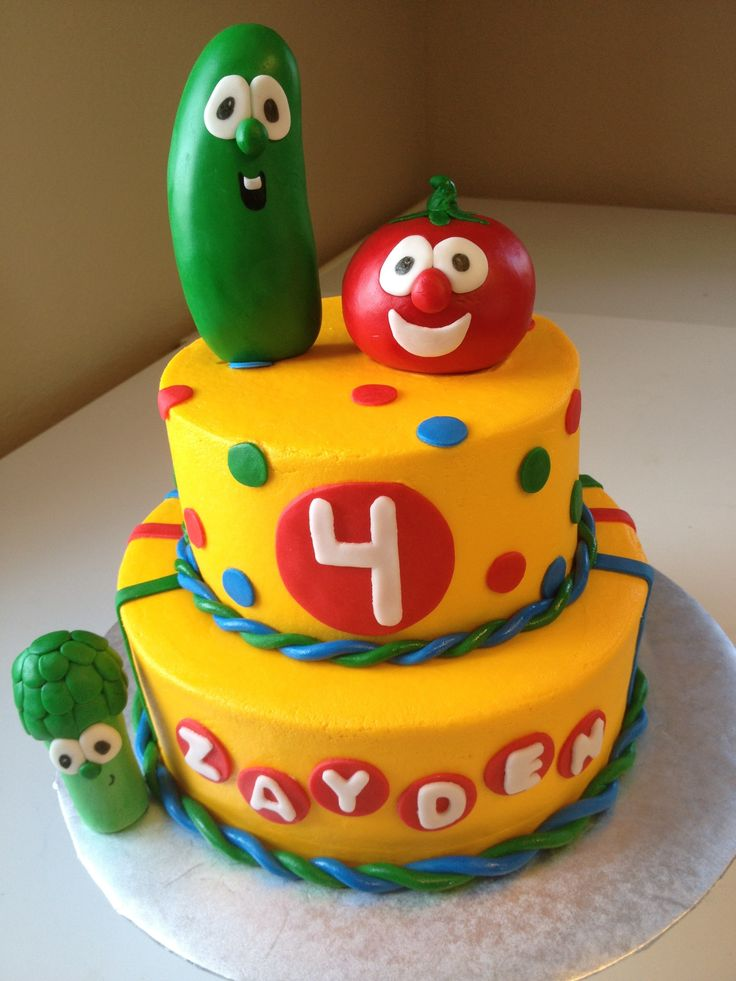 Veggie Tales - Chocolate cake iced in buttercream. Figures, and accents are MMF.