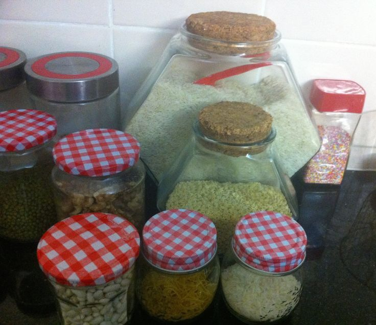 We love to use glass jars for storing dry foods. They keep food fresh, and look great. We also recycle them! They are just too good to throw away. We love mixing them up!