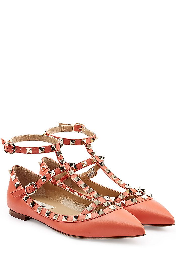 The ultimate shoe, Valentino's pop orange Rockstud ballet flats go from day  to night with elegant edge