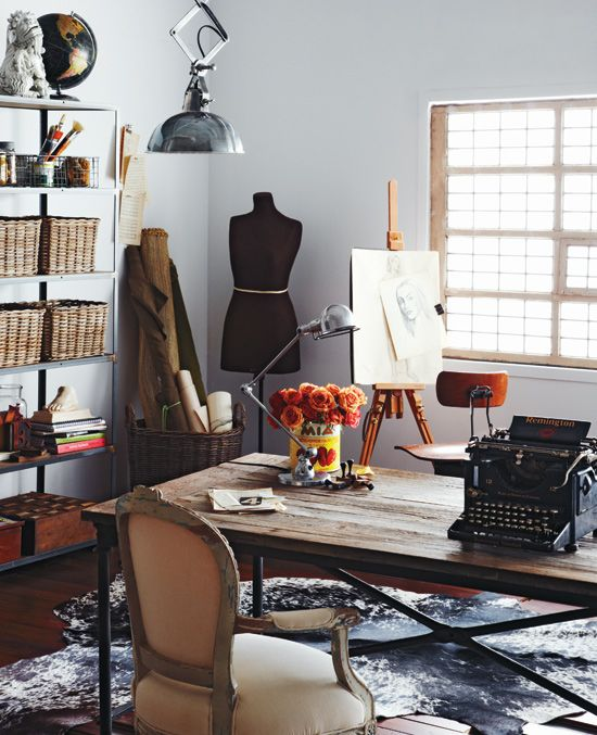 This is my dream room   typewriter for writing  dress form for sewing   easel for drawing  Needs more books though 141 best Home Office Design images on Pinterest   Office spaces  . Home Fashion Design. Home Design Ideas