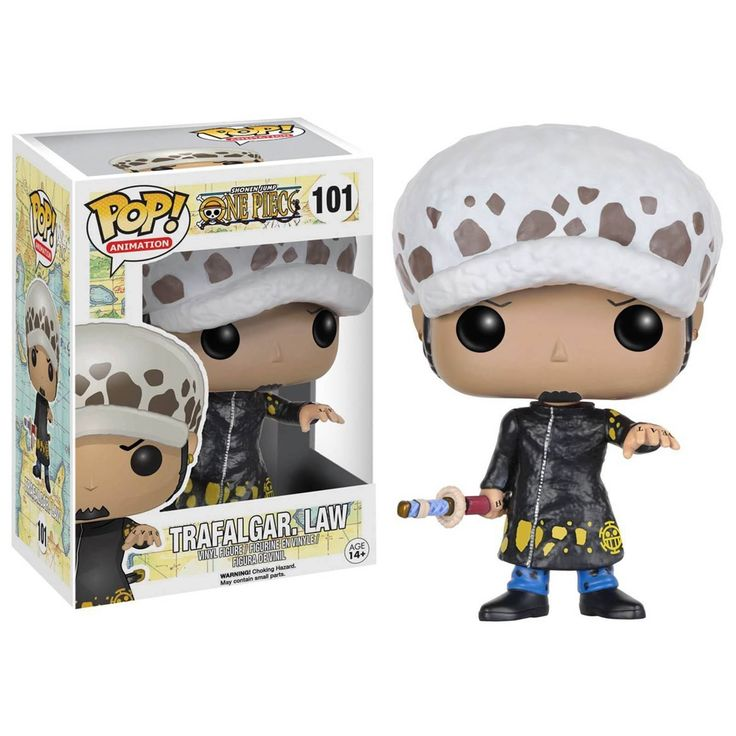 This is a One Piece Trafalgar Law POP Vinyl Figure produced by Funko. Trafalgar Law looks great in his Funko POP Vinyl style and fans of the One Piece anime franchise are sure to be excited to see thi