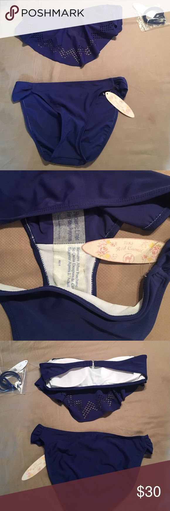Red Camel bandeau bikini set Medium top and bottoms. Navy blue set with hygiene liner in place, new with tags and detachable strap in baggy Red Camel Swim Bikinis