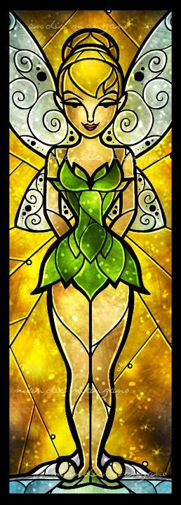Tinkerbell Stained Glass Window http://cagedcanarynz.blogspot.co.nz/2013/10/what-your-favourite-princess-says-about_27.html