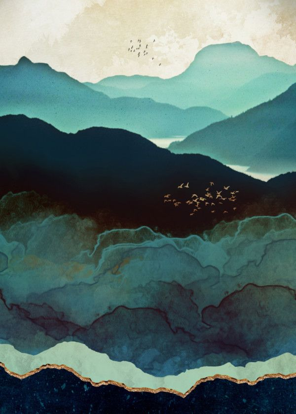Indigo Mountains Nature Poster Print Metal Posters Art